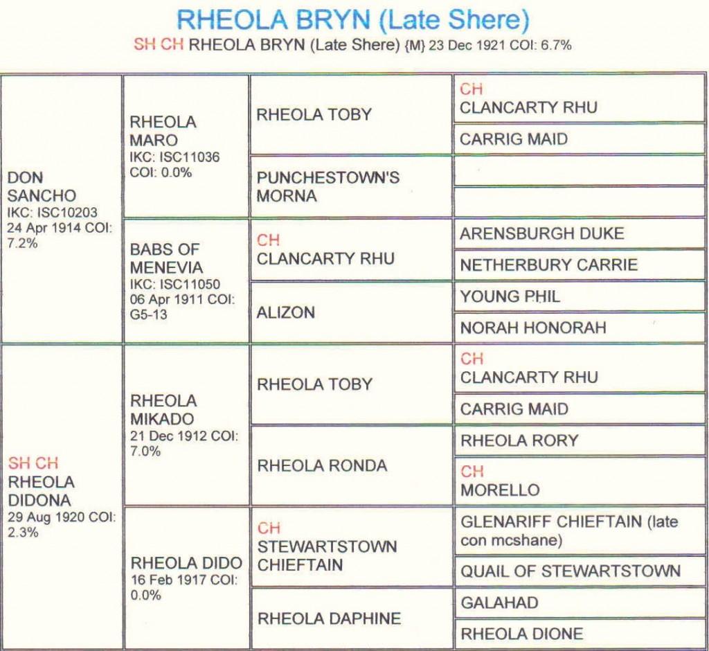 Pedigree Rheola Bryn