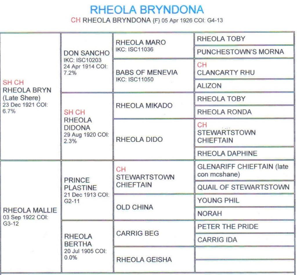 Pedigree Rheola Bryndona